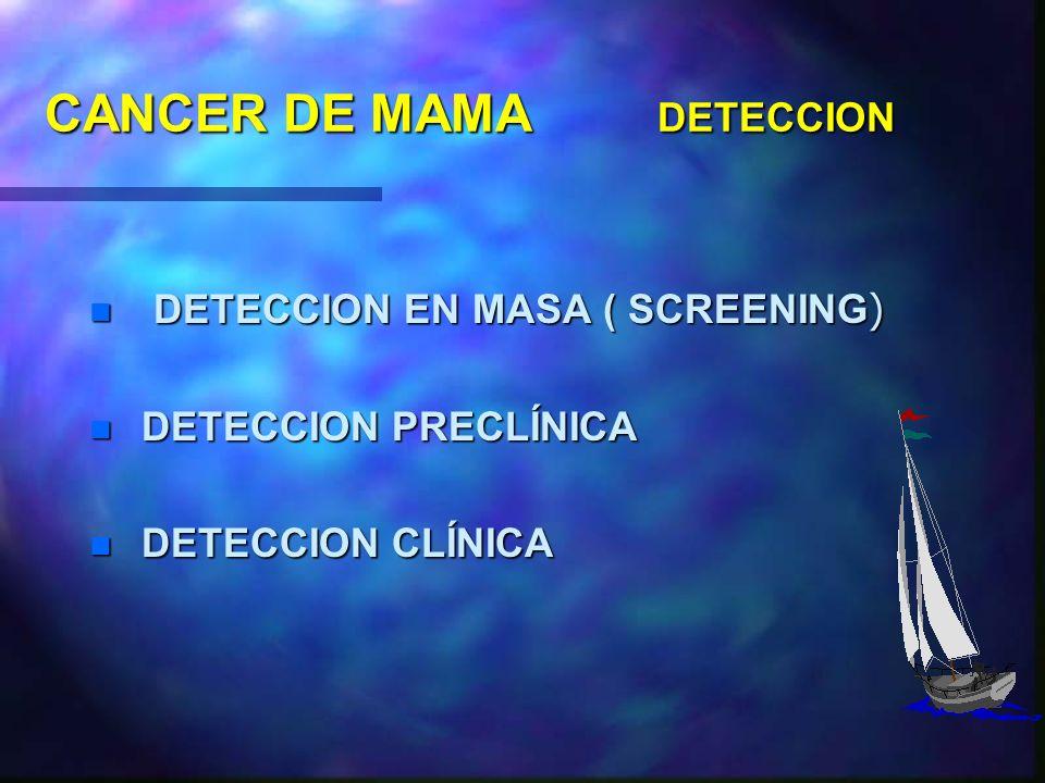 CANCER DE MAMA DIAGNOSTICO DETECCION PRECOZ n TODOS LOS ESFUERZOS DIRIGIDOS A LA DETECCION TEMPRANA. n LA VERDADERA DETECCION PRECOZ ES LA PRECLÍNICA
