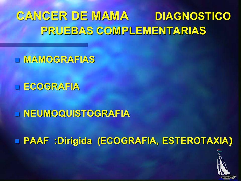 CANCER DE MAMA 2. DETECCION PRECLÍNICA A TRAVES DE ESTUDIOS MAMOGRAFICOS. n IMÁGENES PATOLOGICAS QUE SE DEBEN BIOPSIAR. n PAAF GUIADA POR ECOGRAFIA. n