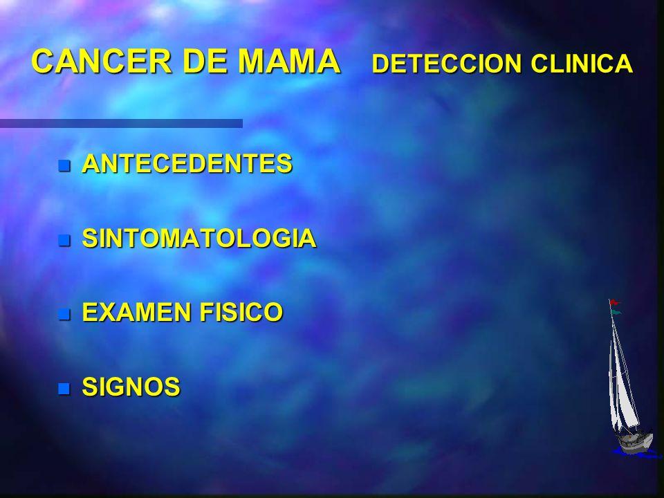 CANCER DE MAMA DIAGNOSTICO PRUEBAS COMPLEMENTARIAS n MAMOGRAFIAS n ECOGRAFIA n NEUMOQUISTOGRAFIA PAAF :Dirigida (ECOGRAFIA, ESTEROTAXIA ) PAAF :Dirigi