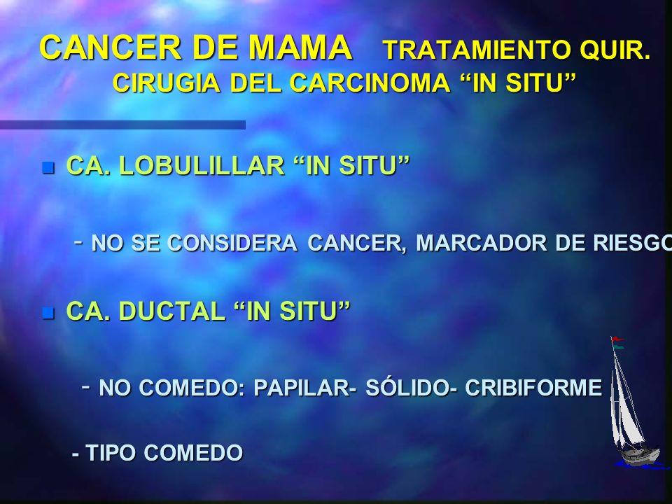CANCER DE MAMA TRATAMIENTO QUIR. CIRUGIA RADICAL - MASTECTOMIA RADICAL INDICACIONES: n RIESGO DE RECURRENCIAS n TUMORES MULTIPLES Y MULTICENTRICOS n I