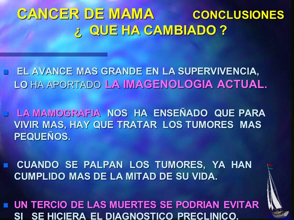 CANCER DE MAMA CONCLUSIONES n ¿ QUE HA CAMBIADO ? - SE HA AVANZADO POCO EN LA SUPERVIVENCIA CON INDEPENDENCIA DE LA AMPLITUD DE LA EXTIRPACION LOCAL.