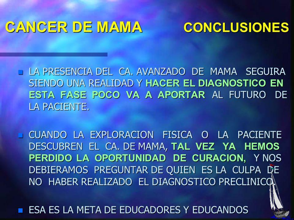 CANCER DE MAMA CONCLUSIONES n EL TEMPRANO DE HOY SEGURAMENTE ES EL TARDE DE MAÑANA n POR ELLO NO PODEMOS ENCERRARNOS EN LAS DESCRIPCIONES CLASICAS DEL