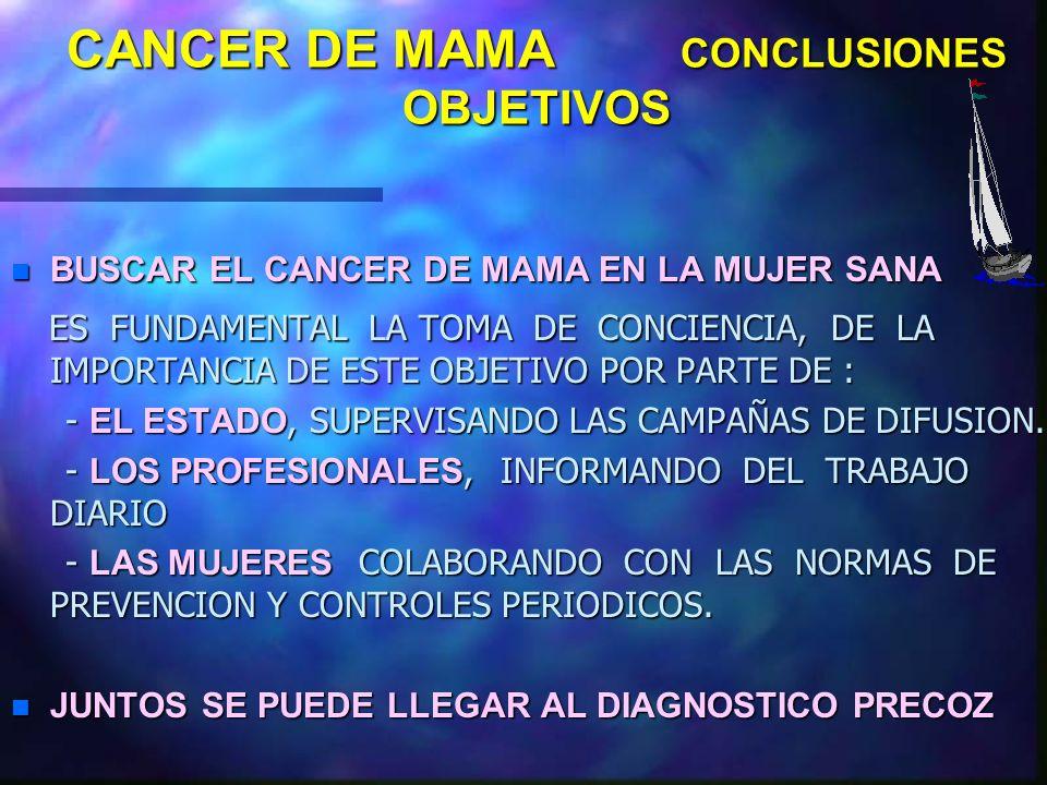 CANCER DE MAMA CONCLUSIONES LA PRESENCIA DEL CA. AVANZADO DE MAMA SEGUIRA SIENDO UNA REALIDAD Y HACER EL DIAGNOSTICO EN ESTA FASE POCO VA A APORTAR AL
