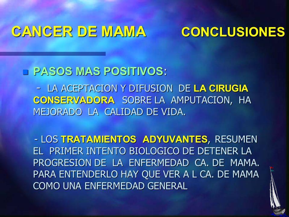 CANCER DE MAMA CONCLUSIONES OBJETIVOS BUSCAR EL CANCER DE MAMA EN LA MUJER SANA BUSCAR EL CANCER DE MAMA EN LA MUJER SANA ES FUNDAMENTAL LA TOMA DE CO