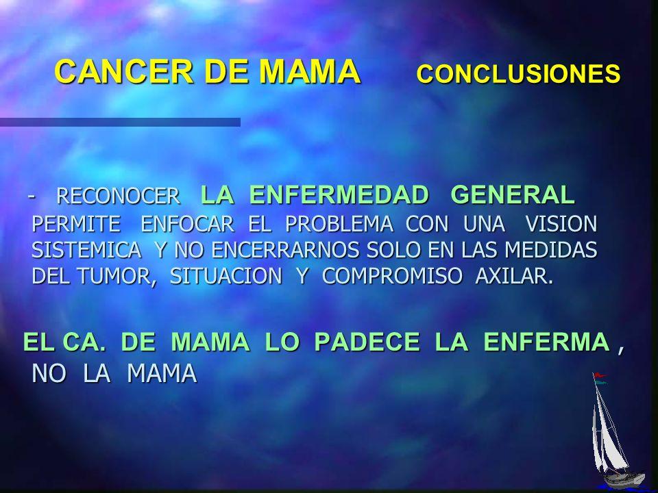 CANCER DE MAMA CONCLUSIONES PASOS MAS POSITIVOS : PASOS MAS POSITIVOS : - LA ACEPTACION Y DIFUSION DE LA CIRUGIA CONSERVADORA SOBRE LA AMPUTACION, HA