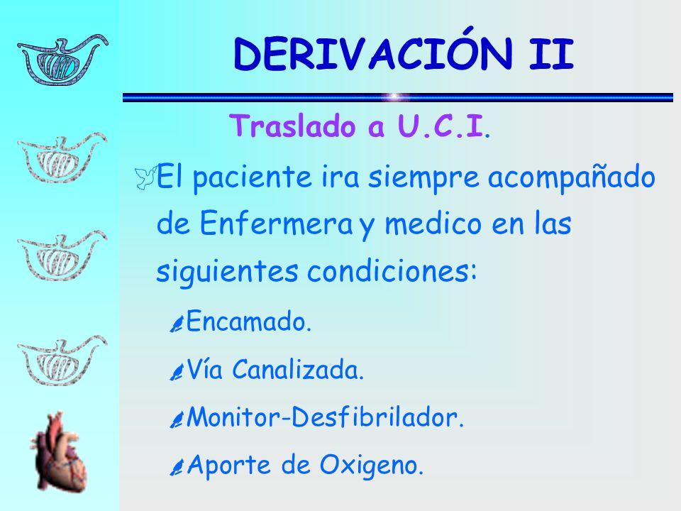 DERIVACIÓN II El paciente ira siempre acompañado de Enfermera y medico en las siguientes condiciones: Encamado. Vía Canalizada. Monitor-Desfibrilador.