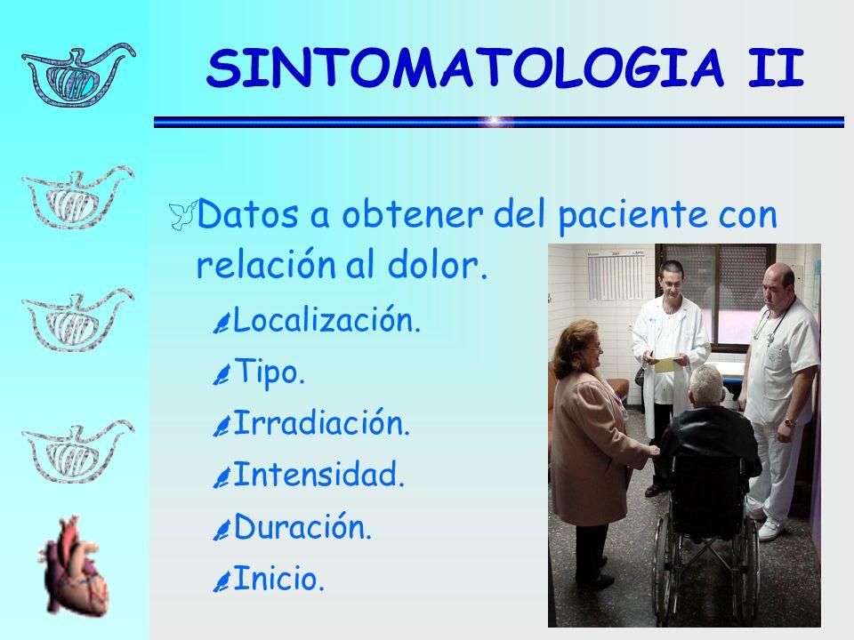 Datos a obtener del paciente con relación al dolor. Localización. Tipo. Irradiación. Intensidad. Duración. Inicio. SINTOMATOLOGIA II