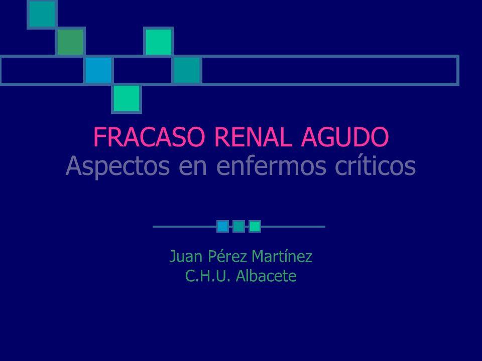 FRACASO RENAL AGUDO Aspectos en enfermos críticos Juan Pérez Martínez C.H.U. Albacete