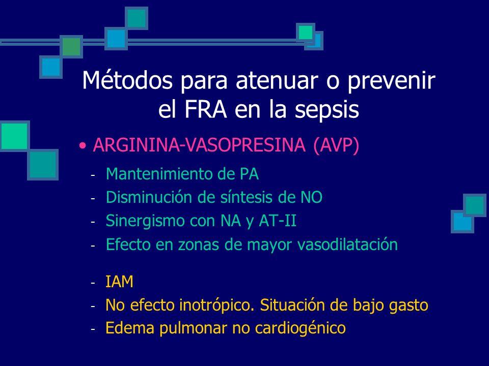 Métodos para atenuar o prevenir el FRA en la sepsis - Mantenimiento de PA - Disminución de síntesis de NO - Sinergismo con NA y AT-II - Efecto en zona