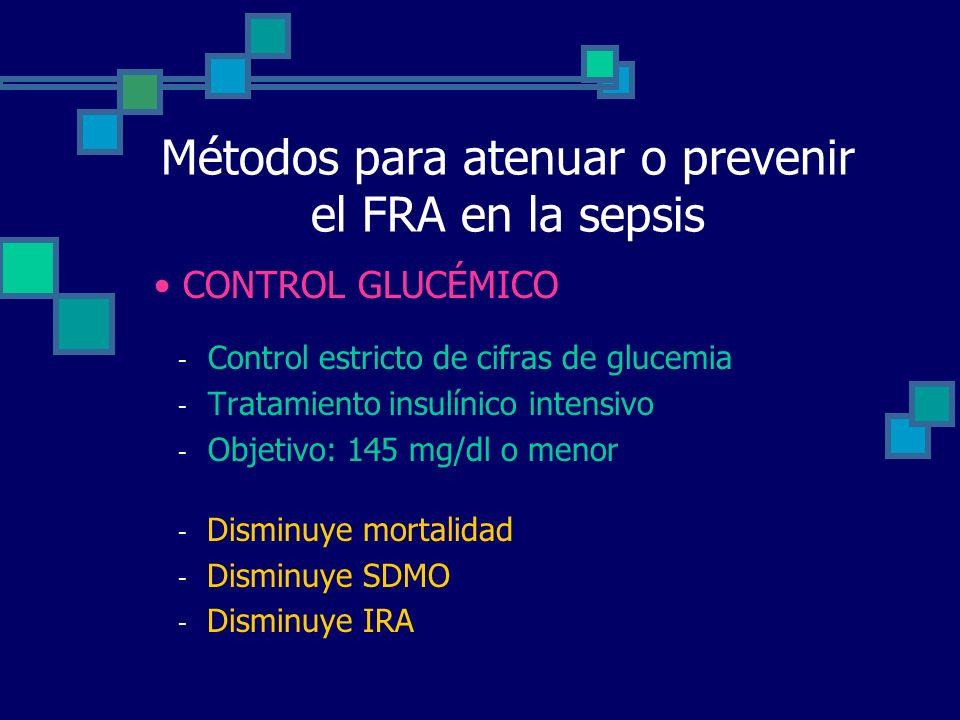 Métodos para atenuar o prevenir el FRA en la sepsis - Control estricto de cifras de glucemia - Tratamiento insulínico intensivo - Objetivo: 145 mg/dl o menor - Disminuye mortalidad - Disminuye SDMO - Disminuye IRA CONTROL GLUCÉMICO