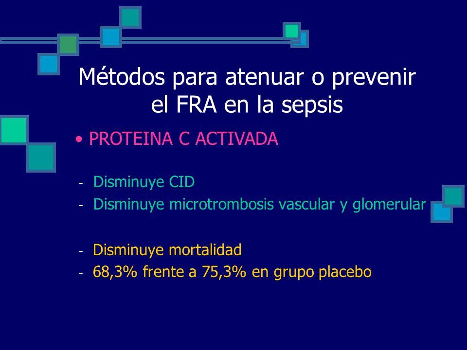Métodos para atenuar o prevenir el FRA en la sepsis - Disminuye CID - Disminuye microtrombosis vascular y glomerular - Disminuye mortalidad - 68,3% frente a 75,3% en grupo placebo PROTEINA C ACTIVADA