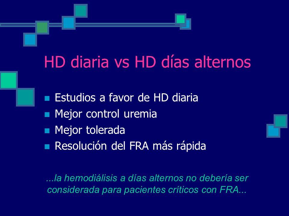 HD diaria vs HD días alternos Estudios a favor de HD diaria Mejor control uremia Mejor tolerada Resolución del FRA más rápida...la hemodiálisis a días alternos no debería ser considerada para pacientes críticos con FRA...