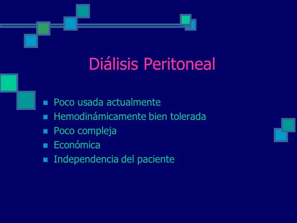 Diálisis Peritoneal Poco usada actualmente Hemodinámicamente bien tolerada Poco compleja Económica Independencia del paciente