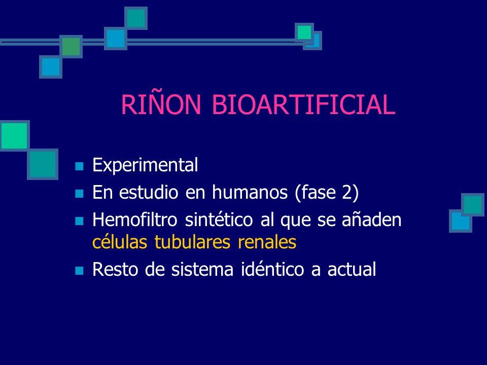 RIÑON BIOARTIFICIAL Experimental En estudio en humanos (fase 2) Hemofiltro sintético al que se añaden células tubulares renales Resto de sistema idént