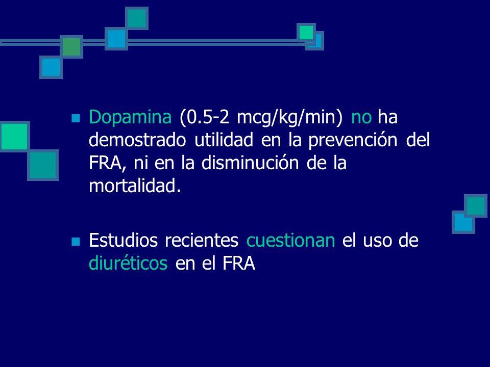 Dopamina (0.5-2 mcg/kg/min) no ha demostrado utilidad en la prevención del FRA, ni en la disminución de la mortalidad. Estudios recientes cuestionan e