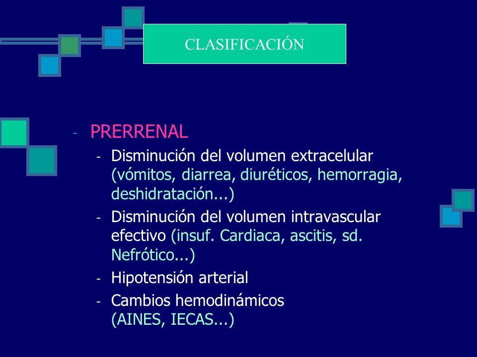 - PRERRENAL - Disminución del volumen extracelular (vómitos, diarrea, diuréticos, hemorragia, deshidratación...) - Disminución del volumen intravascular efectivo (insuf.