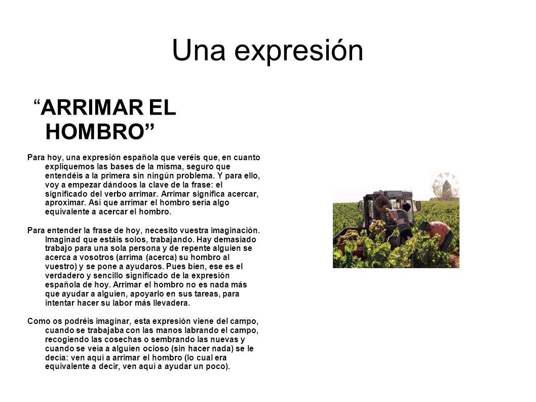 Una expresión ARRIMAR EL HOMBRO Para hoy, una expresión española que veréis que, en cuanto expliquemos las bases de la misma, seguro que entendéis a l