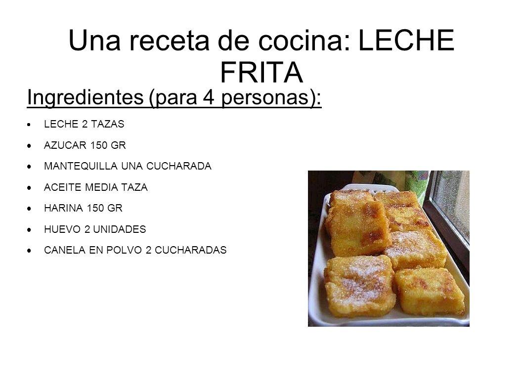 Una receta de cocina: LECHE FRITA Ingredientes (para 4 personas): LECHE 2 TAZAS AZUCAR 150 GR MANTEQUILLA UNA CUCHARADA ACEITE MEDIA TAZA HARINA 150 G