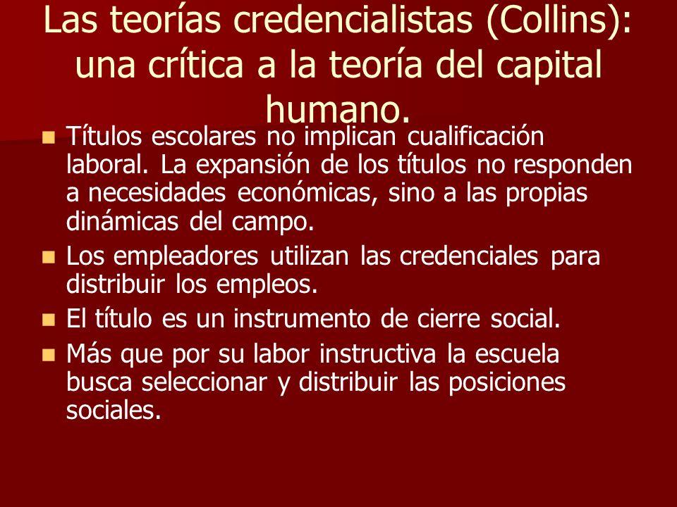 Las teorías credencialistas (Collins): una crítica a la teoría del capital humano. Títulos escolares no implican cualificación laboral. La expansión d