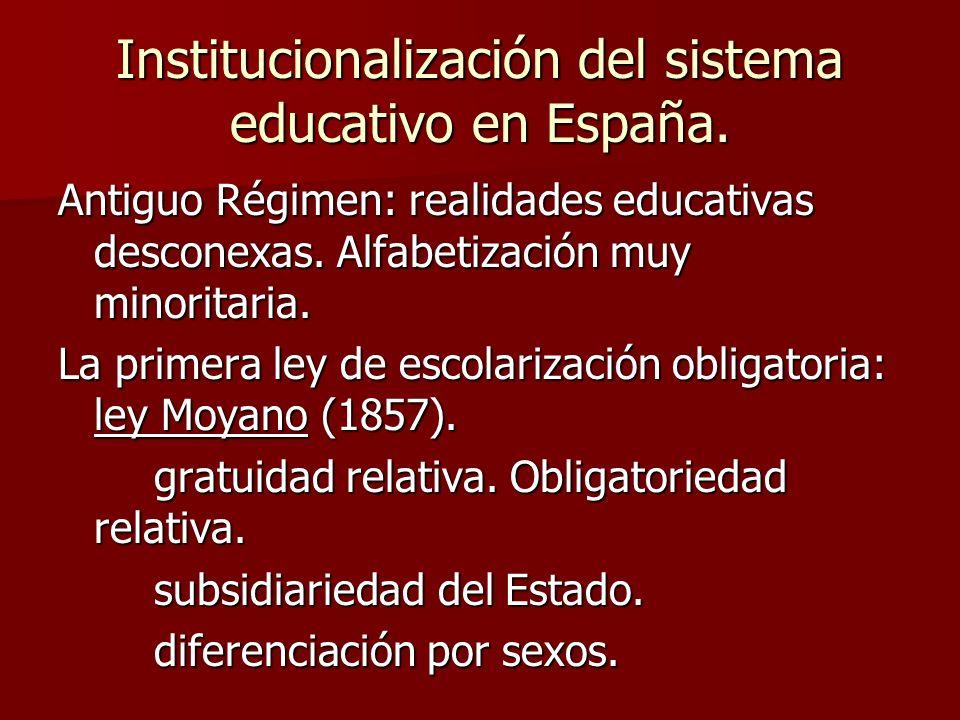 Institucionalización del sistema educativo en España. Antiguo Régimen: realidades educativas desconexas. Alfabetización muy minoritaria. La primera le