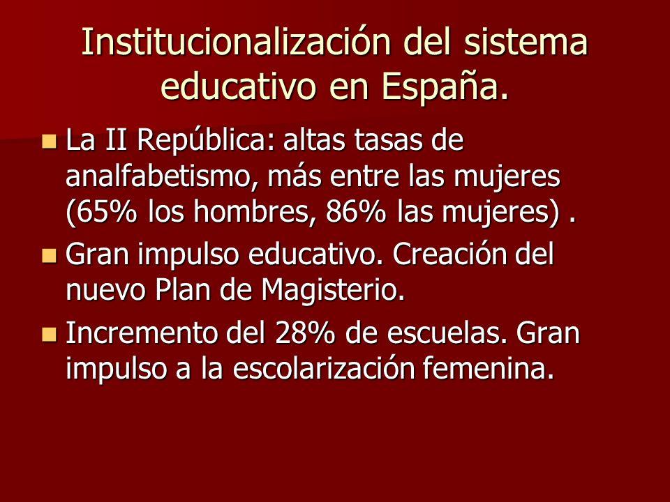 Institucionalización del sistema educativo en España. La II República: altas tasas de analfabetismo, más entre las mujeres (65% los hombres, 86% las m
