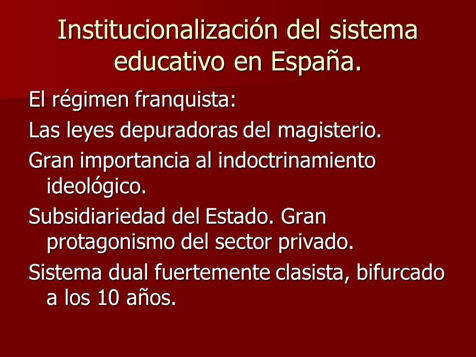 Institucionalización del sistema educativo en España. El régimen franquista: Las leyes depuradoras del magisterio. Gran importancia al indoctrinamient