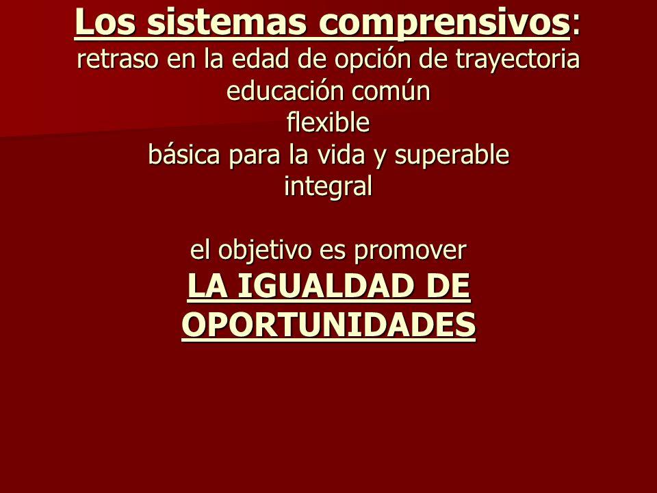 Los sistemas comprensivos: retraso en la edad de opción de trayectoria educación común flexible básica para la vida y superable integral el objetivo e