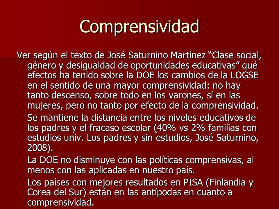Comprensividad Ver según el texto de José Saturnino Martínez Clase social, género y desigualdad de oportunidades educativas qué efectos ha tenido sobr