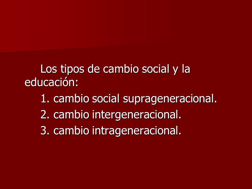 Los tipos de cambio social y la educación: 1. cambio social suprageneracional. 2. cambio intergeneracional. 3. cambio intrageneracional.