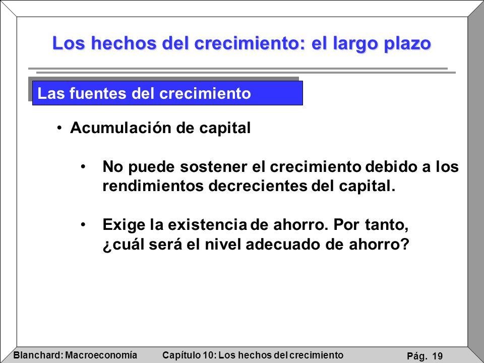 Capítulo 10: Los hechos del crecimientoBlanchard: Macroeconomía Pág. 19 Los hechos del crecimiento: el largo plazo Acumulación de capital No puede sos