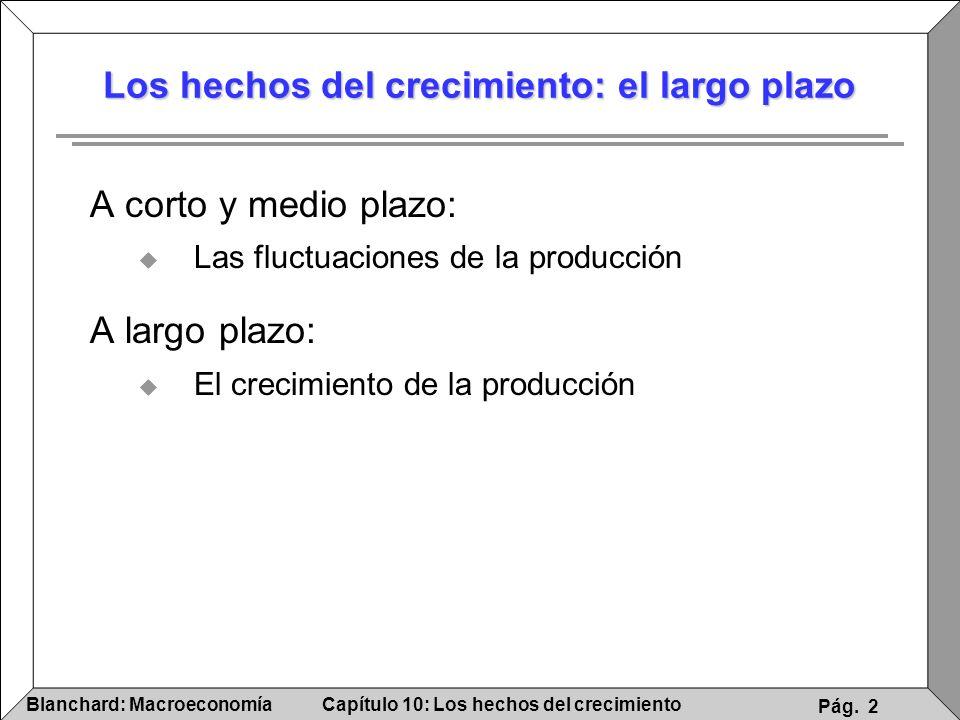 Capítulo 10: Los hechos del crecimientoBlanchard: Macroeconomía Pág. 2 Los hechos del crecimiento: el largo plazo A corto y medio plazo: Las fluctuaci