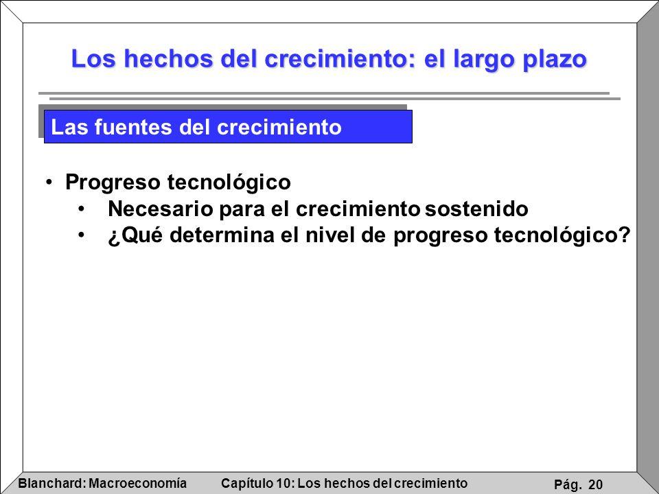 Capítulo 10: Los hechos del crecimientoBlanchard: Macroeconomía Pág. 20 Los hechos del crecimiento: el largo plazo Las fuentes del crecimiento Progres