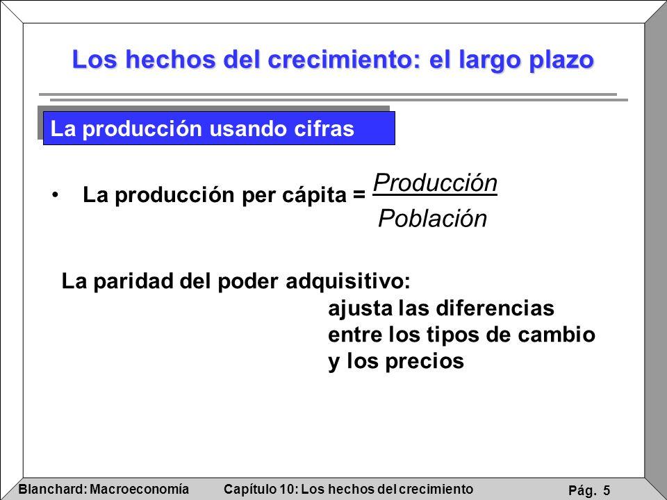 Capítulo 10: Los hechos del crecimientoBlanchard: Macroeconomía Pág. 5 Los hechos del crecimiento: el largo plazo La producción usando cifras La parid