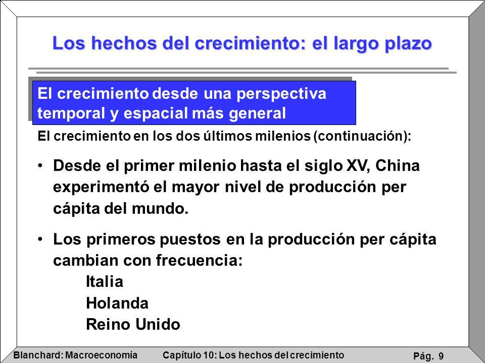 Capítulo 10: Los hechos del crecimientoBlanchard: Macroeconomía Pág. 9 Los hechos del crecimiento: el largo plazo El crecimiento desde una perspectiva