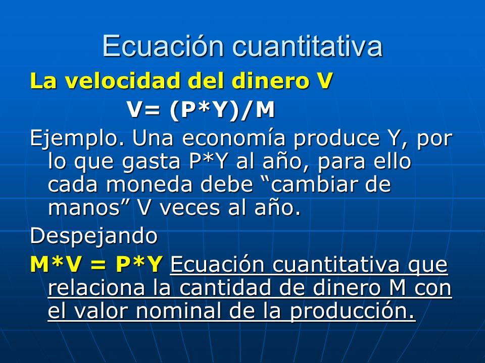 Ecuación cuantitativa La velocidad del dinero V V= (P*Y)/M Ejemplo. Una economía produce Y, por lo que gasta P*Y al año, para ello cada moneda debe ca