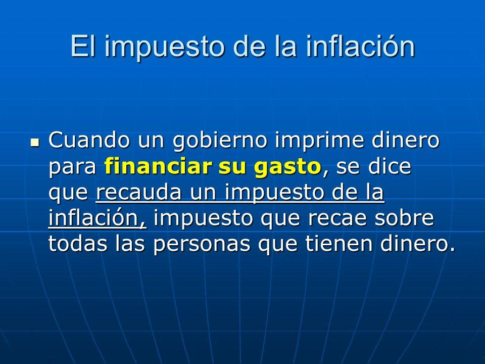 El impuesto de la inflación Cuando un gobierno imprime dinero para financiar su gasto, se dice que recauda un impuesto de la inflación, impuesto que r