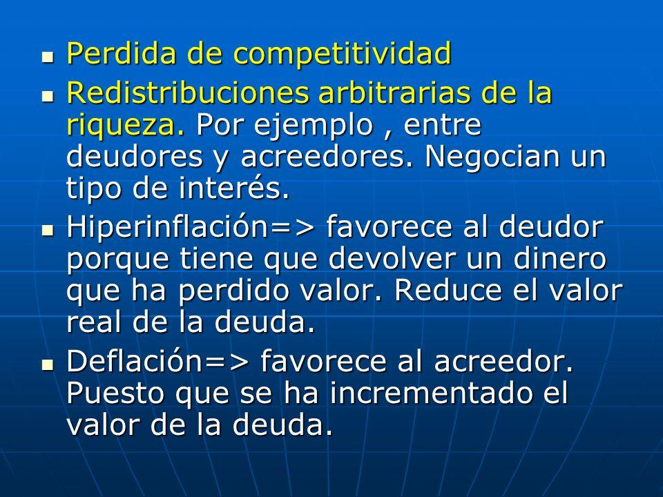 Perdida de competitividad Perdida de competitividad Redistribuciones arbitrarias de la riqueza. Por ejemplo, entre deudores y acreedores. Negocian un