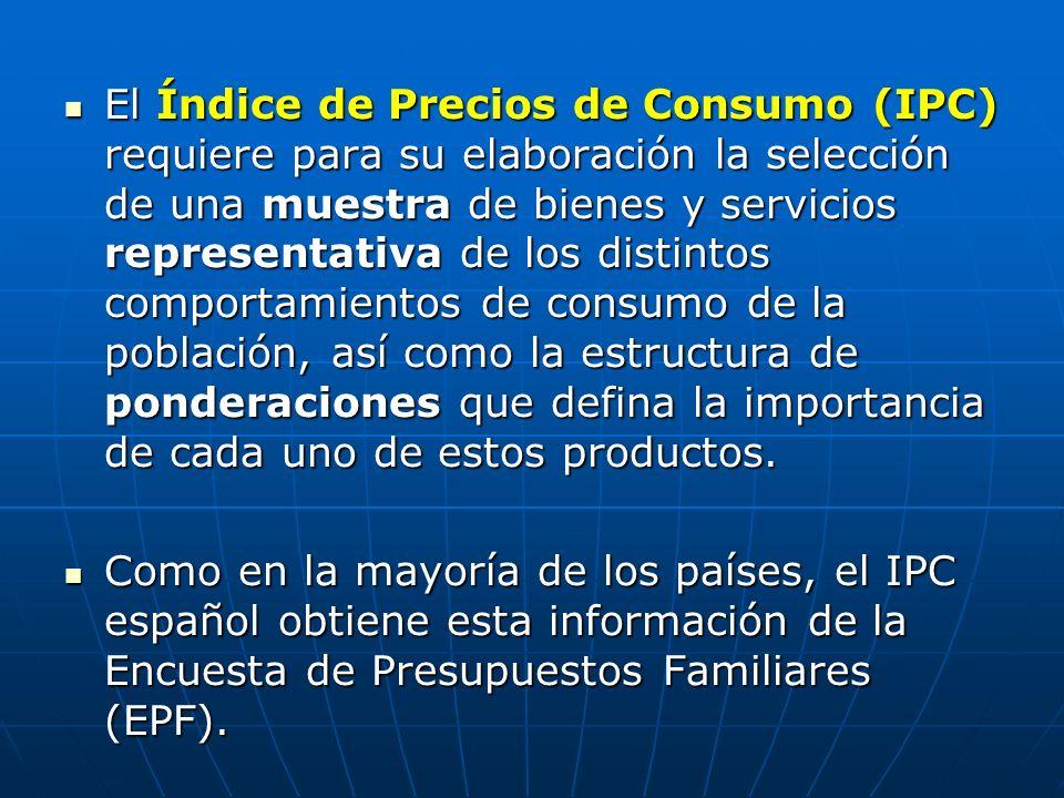 El Índice de Precios de Consumo (IPC) requiere para su elaboración la selección de una muestra de bienes y servicios representativa de los distintos c