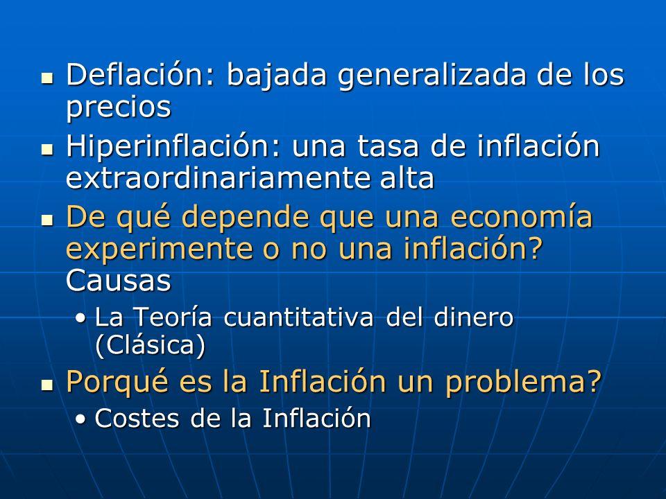 Deflación: bajada generalizada de los precios Deflación: bajada generalizada de los precios Hiperinflación: una tasa de inflación extraordinariamente