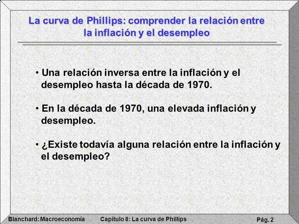 Capítulo 8: La curva de PhillipsBlanchard: Macroeconomía Pág. 2 La curva de Phillips: comprender la relación entre la inflación y el desempleo Una rel