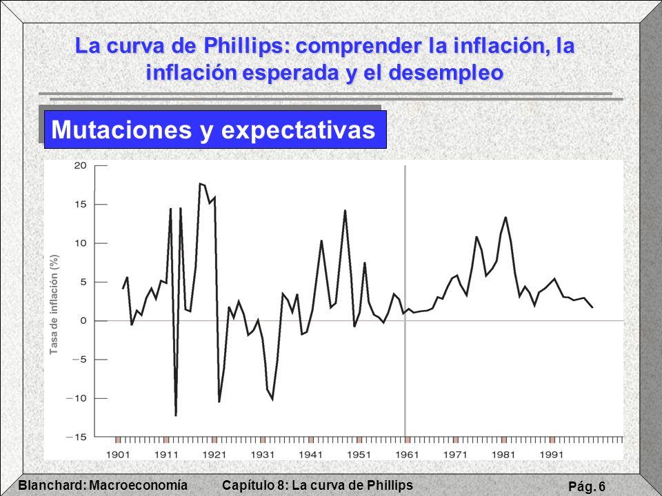 Capítulo 8: La curva de PhillipsBlanchard: Macroeconomía Pág. 6 La curva de Phillips: comprender la inflación, la inflación esperada y el desempleo Mu