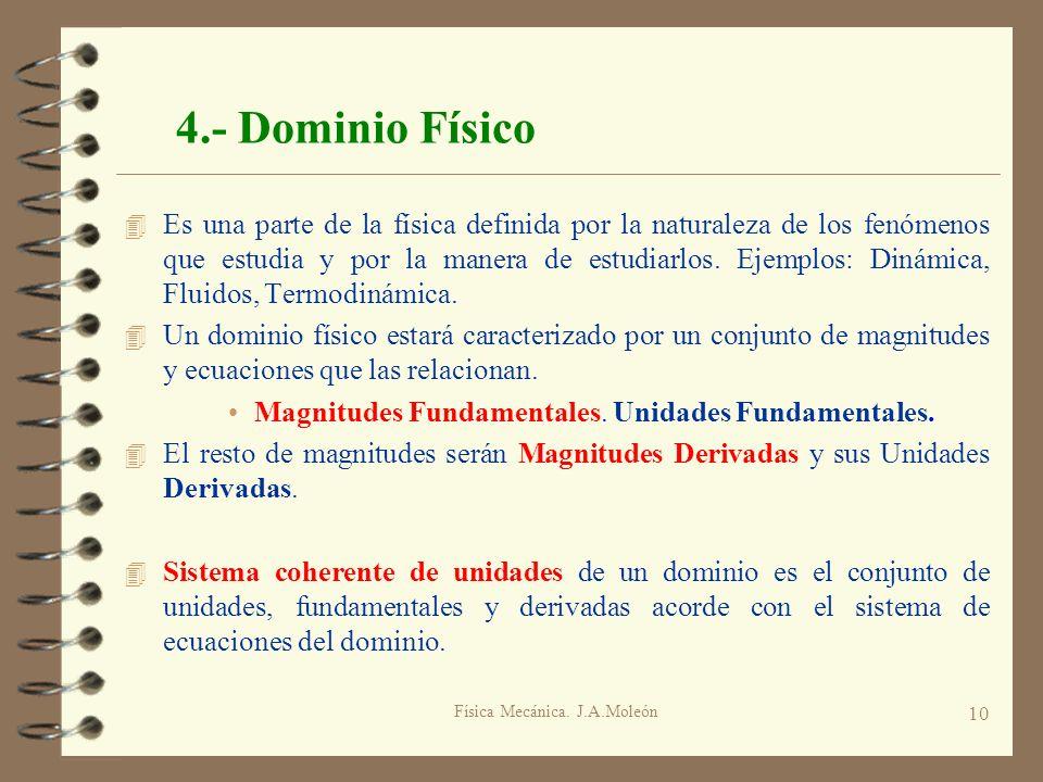Física Mecánica. J.A.Moleón 10 4.- Dominio Físico 4 Es una parte de la física definida por la naturaleza de los fenómenos que estudia y por la manera