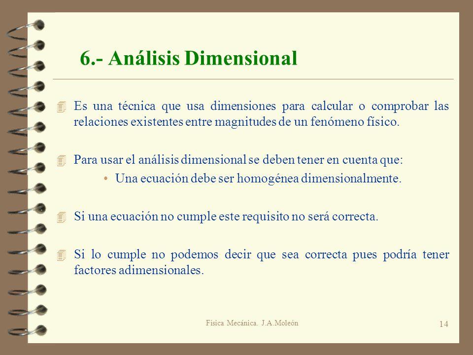 Física Mecánica. J.A.Moleón 14 6.- Análisis Dimensional 4 Es una técnica que usa dimensiones para calcular o comprobar las relaciones existentes entre