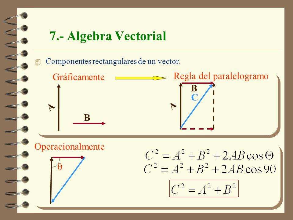 Física Mecánica. J.A.Moleón 19 7.- Algebra Vectorial 4 Componentes rectangulares de un vector. Operacionalmente θ Gráficamente Regla del paralelogramo