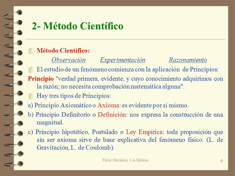 Física Mecánica. J.A.Moleón 6 2- Método Científico 4 Método Científico: Observación ExperimentaciónRazonamiento 4 El estudio de un fenómeno comienza c