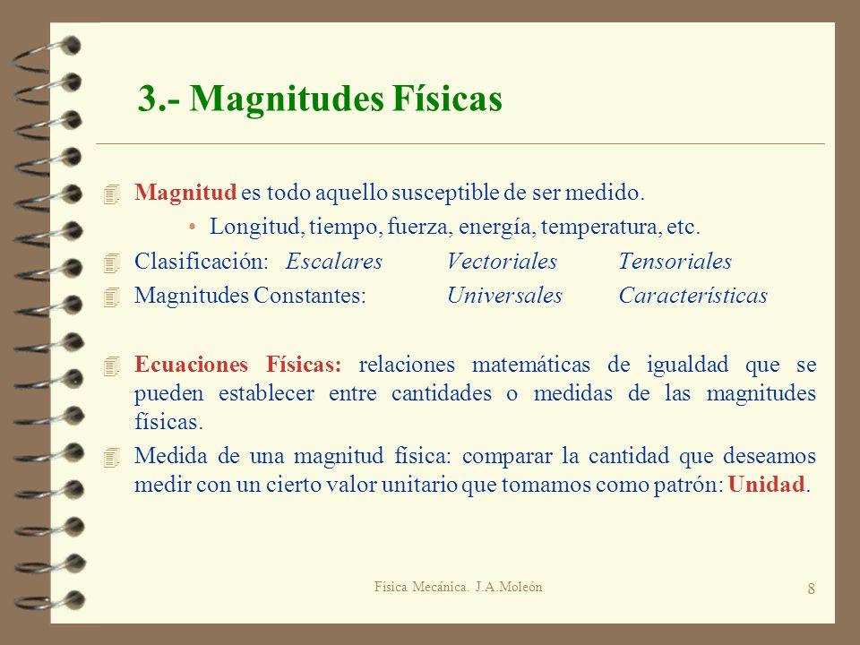 Física Mecánica. J.A.Moleón 8 3.- Magnitudes Físicas 4 Magnitud es todo aquello susceptible de ser medido. Longitud, tiempo, fuerza, energía, temperat