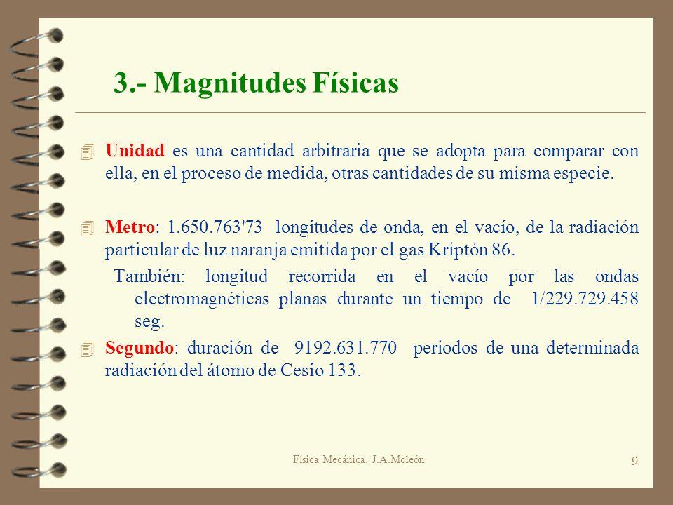 Física Mecánica. J.A.Moleón 9 3.- Magnitudes Físicas 4 Unidad es una cantidad arbitraria que se adopta para comparar con ella, en el proceso de medida