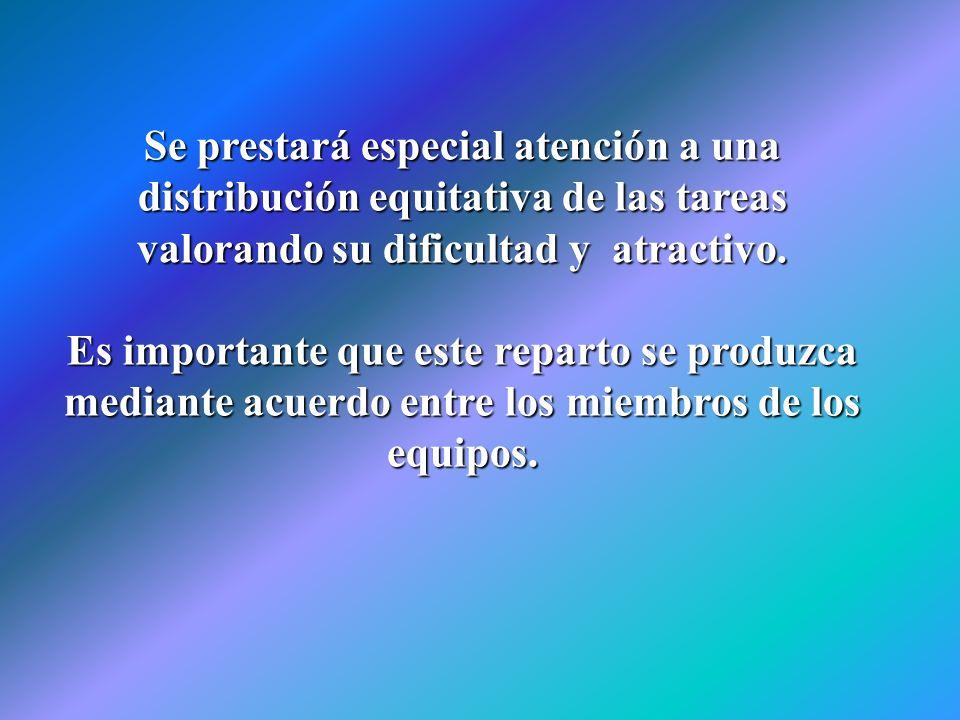 Se prestará especial atención a una distribución equitativa de las tareas valorando su dificultad y atractivo. Es importante que este reparto se produ