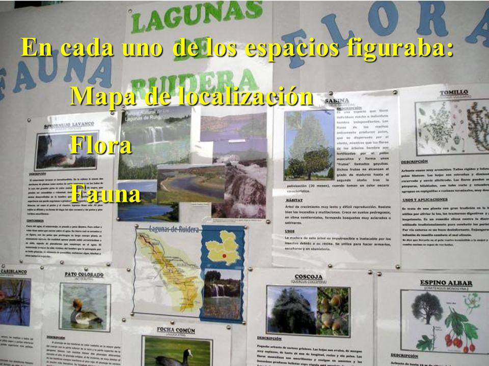 En cada uno de los espacios figuraba: Mapa de localización FloraFauna
