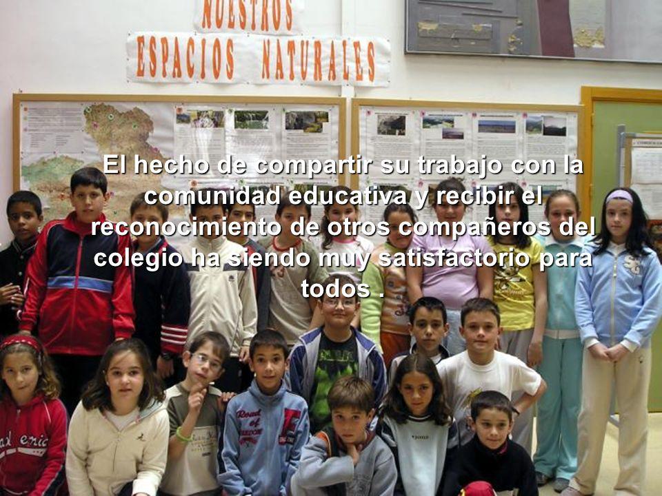 El hecho de compartir su trabajo con la comunidad educativa y recibir el reconocimiento de otros compañeros del colegio ha siendo muy satisfactorio pa